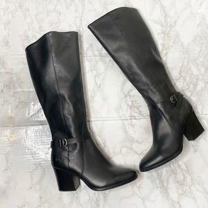 New Born Tall Leather Riding Boots 9.5 Buckle